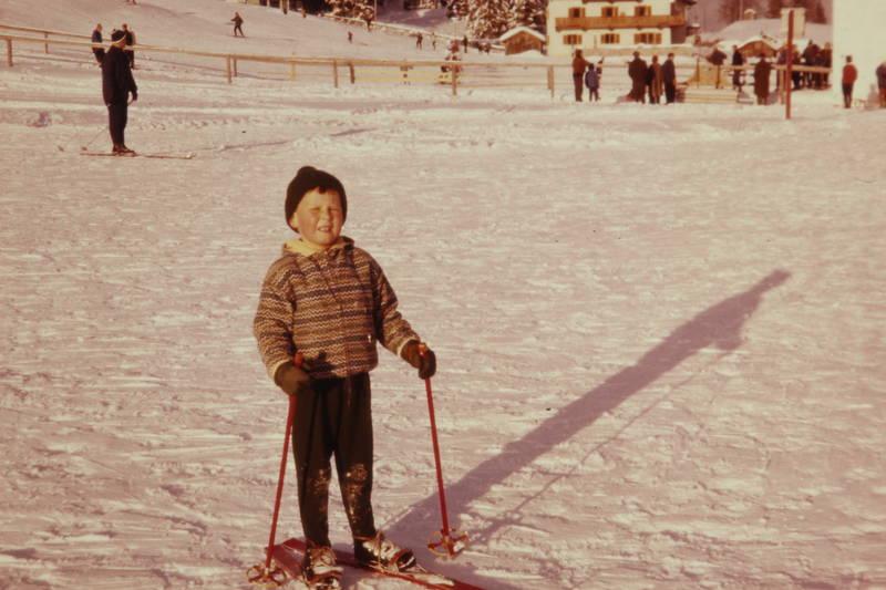 Kindheit, piste, schatten, Ski, skier, skikeilhose, skistöcke, urlaub, winter