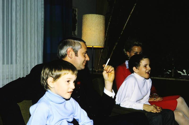 anzug, Eltern, familie, jungen, kinder, rollkragenpullover, stehlampe, zigarette