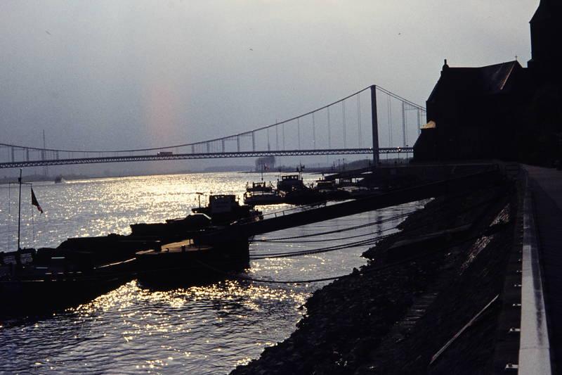 Abendsonne, Anleger, boot, brücke, fluss, Niederrhein, Reflektion, Rhein, Rheinbrücke