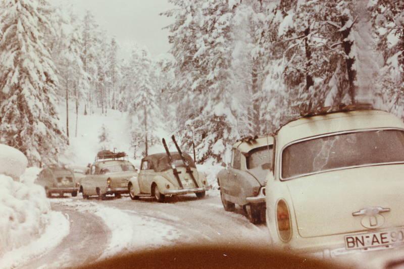 auto, BN, bonn, citroen-ds, Dachgepäckträger, Ente, Fiat-600, käfer, KFZ, PKW, rekord-p1, schnee, Ski, vw, wald