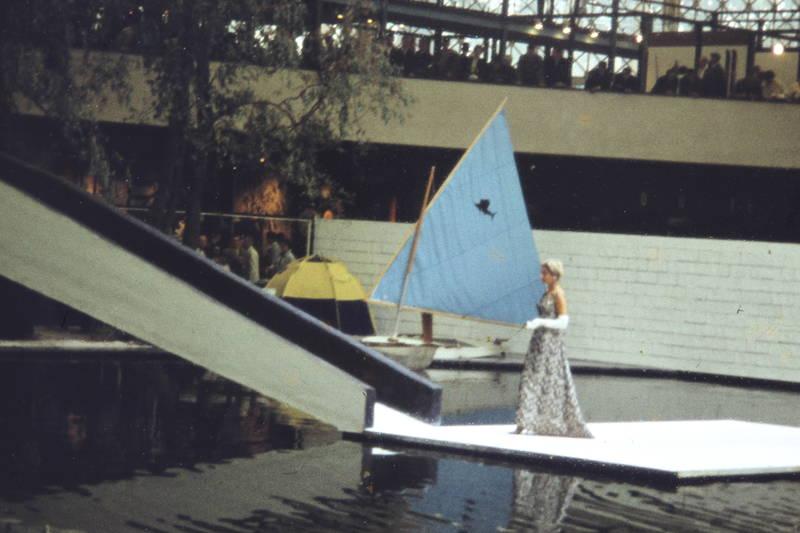 Expo 1958, gewässer, kleid, Modenschau, Segelboot, US Pavillon, Weltausstellung