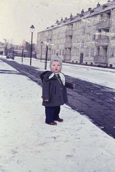 Gehweg, Laterne, schnee, straße