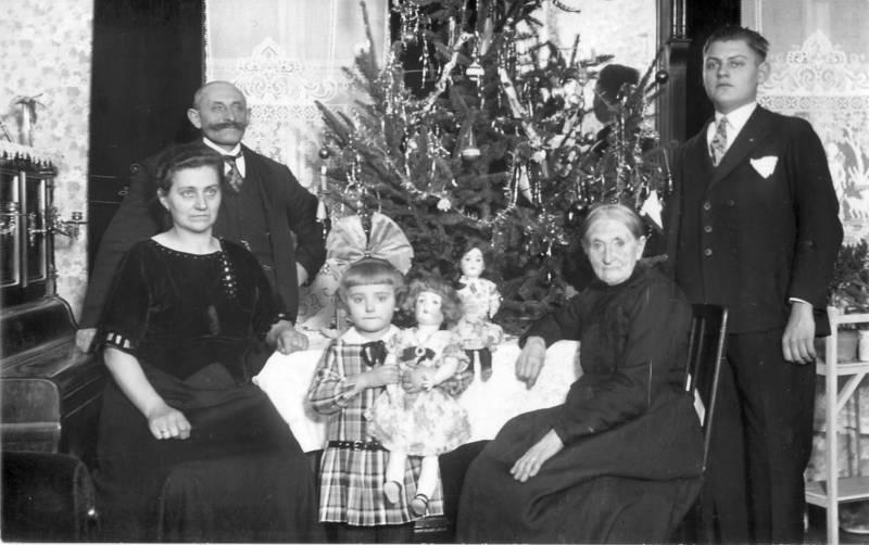 familie, puppe, Schleife, Weihnachten, Weihnachtsbaum