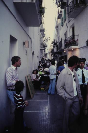 Balkon, einkaufen, einkausstraße, markt, Polizist, straße