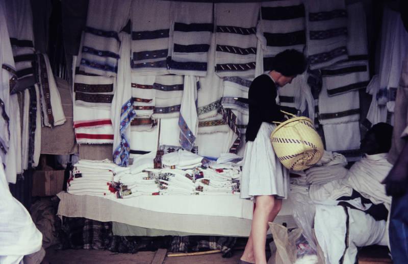 afrika, Äthiopien, einkauf, Handtuch, korb, markt, mode