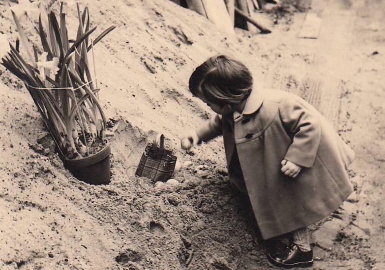 Blume, Kindheit, osterei, Ostern, osternest, sand