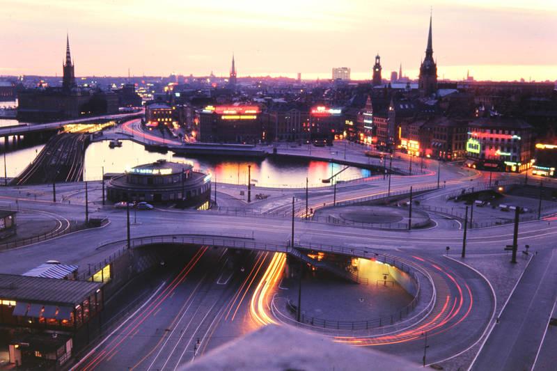 brücke, langzeitbelichtung, Nachtaufnahme, slussen, Stadtansicht, Stockholm, straße, verkehrsknoten, vogelperspektive