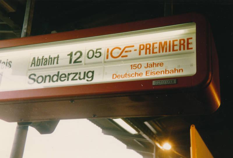 bahnhof, DB, deutsche bundesbahn, deutsche eisenbahn, ICE, ice-premiere, intercity-express, InterCityExperimental, Jubiläum, Premiere, rekordfahrt, Sonderzug