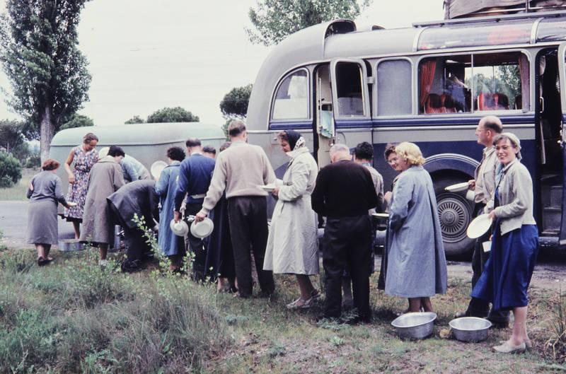 bus, Busreise, essen, Mittagessen, mode, panorama-bus, pause, reise, Reisebus