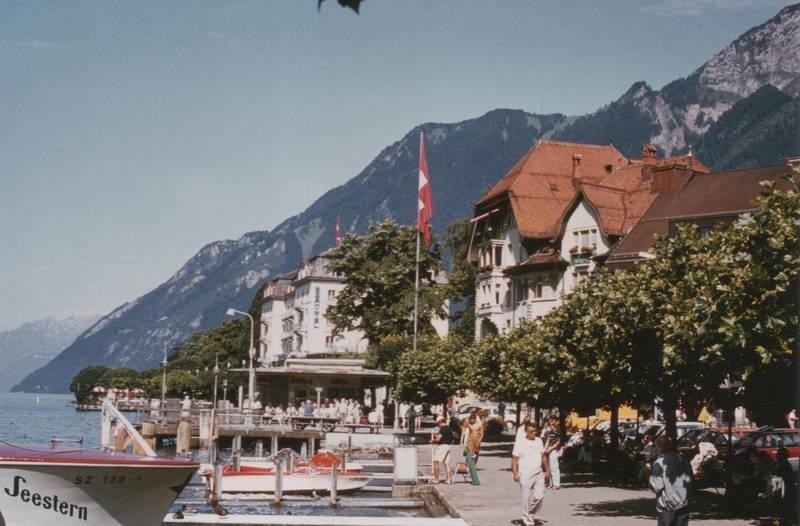 Berge, boote, Brunnen, Schweiz, uferpromenade