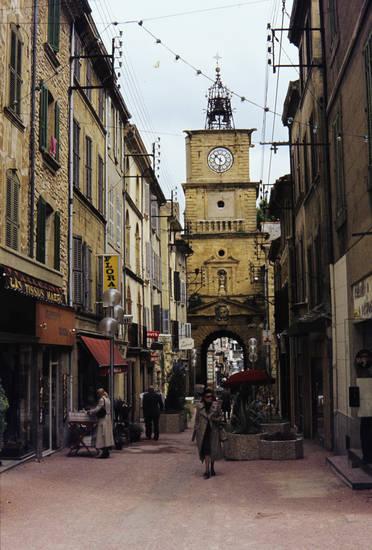 ferien, Frankreich, Gasse, reise, salon de provence, straße, turm, Uhrturm, urlaub