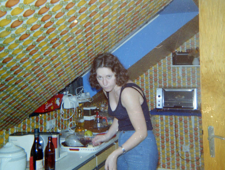 dachgeschoss, dachschräge, Flasche, Küche, tapete, toaster