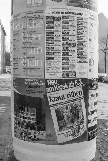Deutsche Oper am Rhein, Düsseldorf, kino in düsseldorf, kraut und rüben, kunstsammlung nordrhein-westfalen, Litfaßsäule, plakat, Reklame, werbung