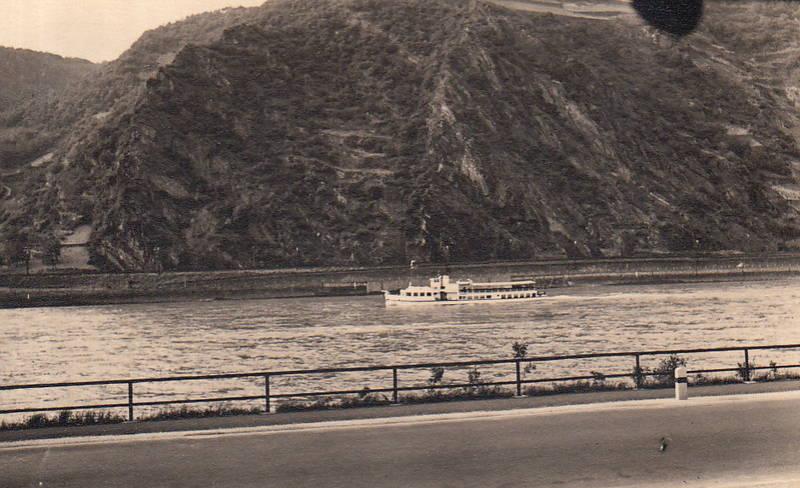 Berg, fluss, Rhein, schiff, straße, Ufer