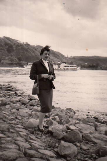 Handtasche, mode, Rhein, Rheinufer, schiff, sinzig