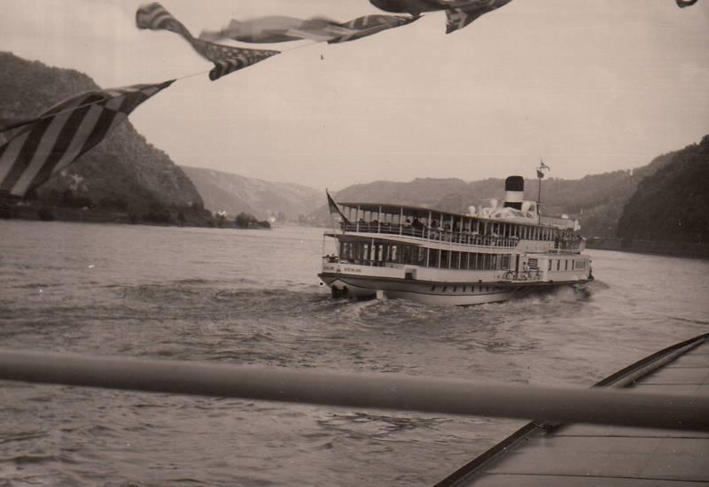 dampfer, fahne, fluss, Rhein, schiff, Schifffahrt