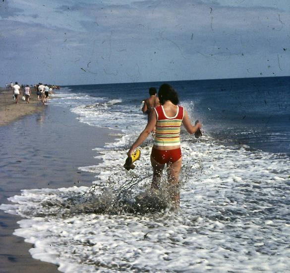 Bikini, meer, schuhe, strand, Top, urlaub, Urlaubsreise, Welle
