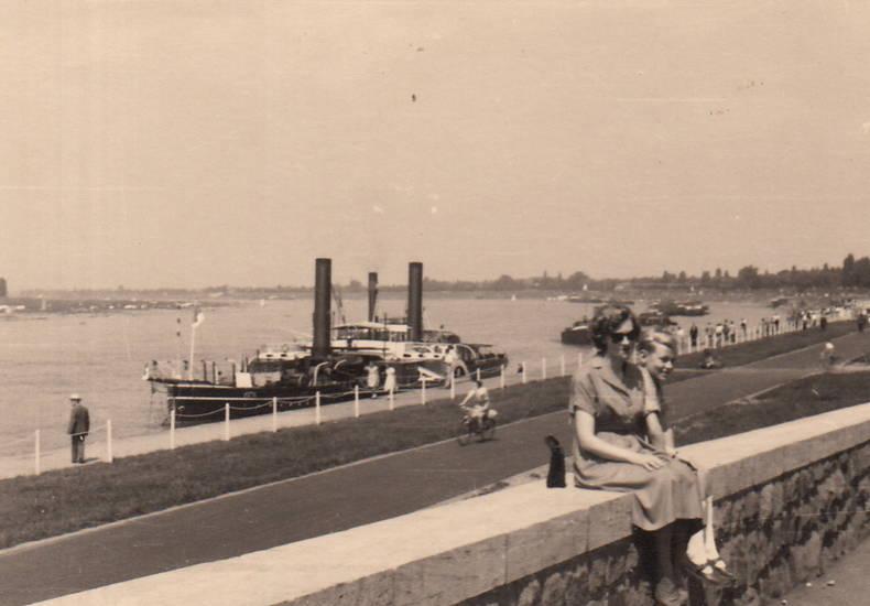 fluss, mauer, Rhein, Rheinufer, schiff