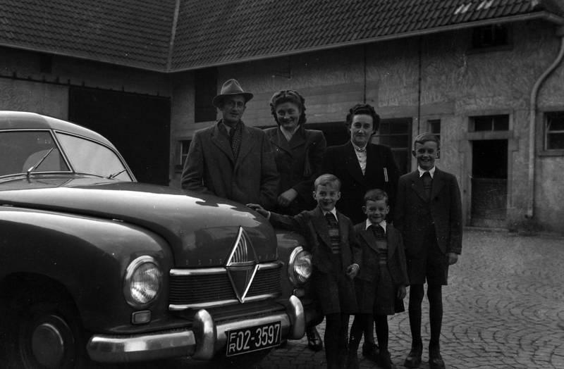 auto, Borgward, Borgward-Hansa, familie, Familienbild, KFZ, PKW