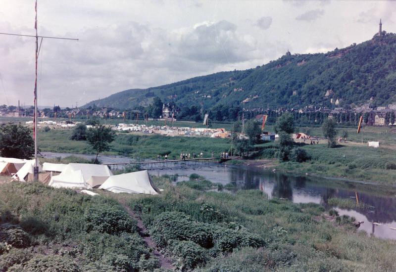 brücke, Campingplatz, Mariensäule, Moselinsel, Trier, zelt
