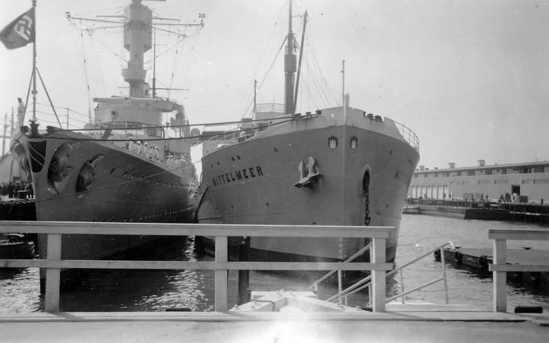 Hafen, hakenkreuz, Hakenkreuzfahne, Mittelmeer, Nationalsozialismus, schiff