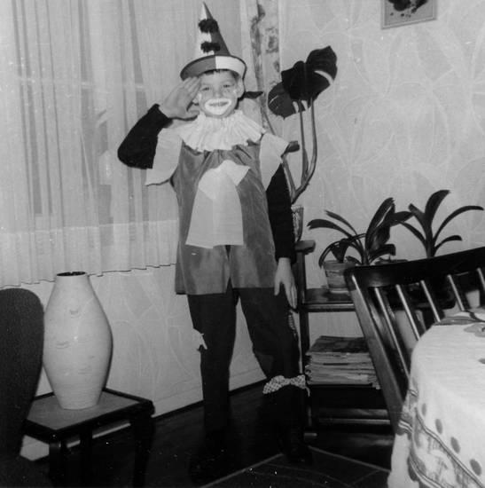 Clown, karneval, Kindheit, Kostüm, verkleidung, wohnzimmer