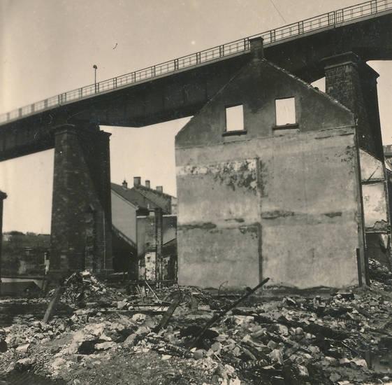 2. Weltkrieg, brücke, Eisenbahnbrücke, Hagener Straße, haus, mauer, Ruine, trümmer, Wuppertal, Zerstörung, zweiter weltkrieg