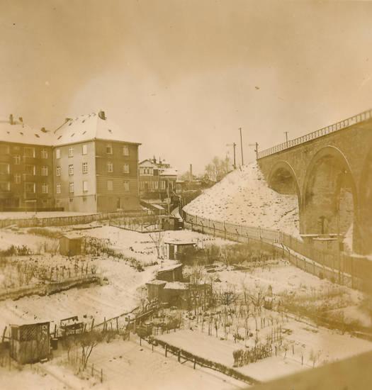 brücke, Eisenbahnbrücke, garten, schnee, winter, Wuppertal