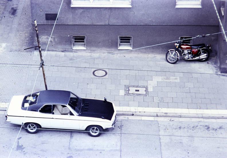 auto, KFZ, manta-a, Motorrad, parken, PKW, straße, vinyldach