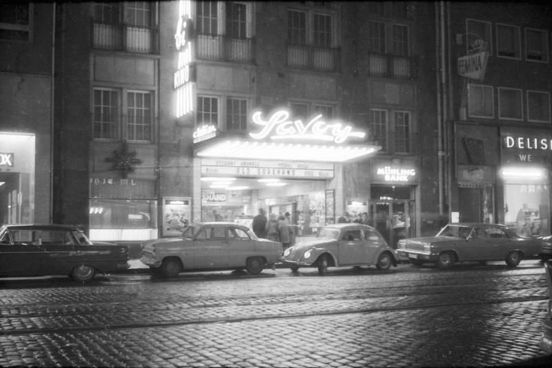 1965, auto, diplomat-a, Düsseldorf, KFZ, Kino, Opel-Kapitän, PKW, Savoy, Savoy-Theater, Schauspieler