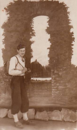 Drachenfels, Gemälde, Rhein, Rolandsbogen, Wanderer