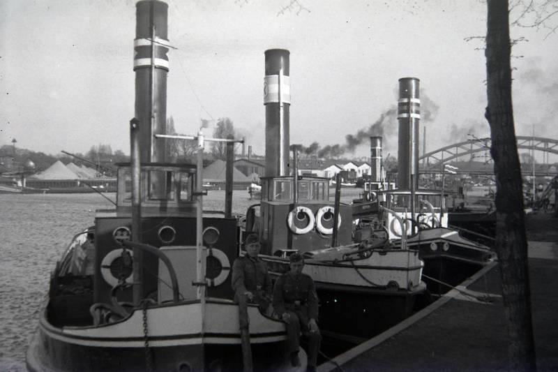 Binnenhafen, dampfer, Eisenbahn, fluss, Hafen, schiff, soldat, Wehrmacht
