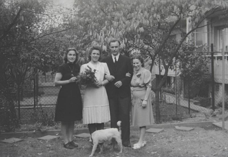 Blumenstrauß, garten, Gruppenbild, hund, verlobung
