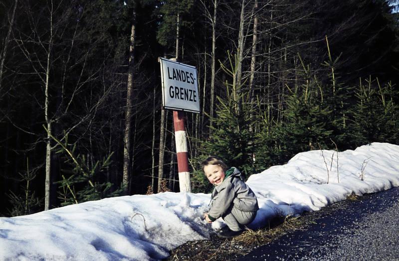 Kindheit, Landesgrenze, Schild, schnee, spaziergang, winter