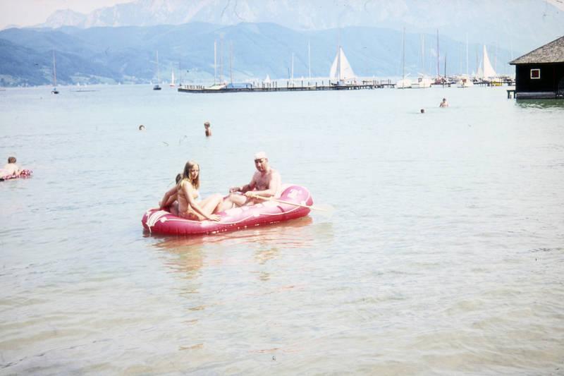Berg, boot, ferien, Paddeln, reise, Rudern, schlauchboot, Schwimmen, see, Sommer, Steg, urlaub