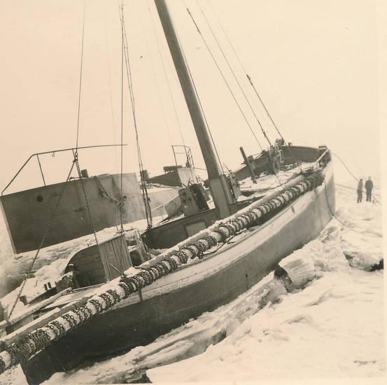 Eis, fluss, Rhein, schiff, schnee, winter