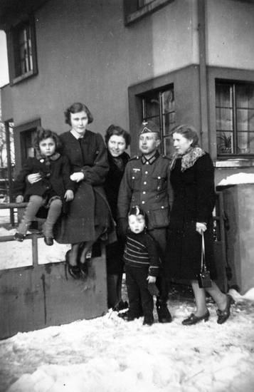 familie, haus, schnee, soldat, Uniform, winter, zaun