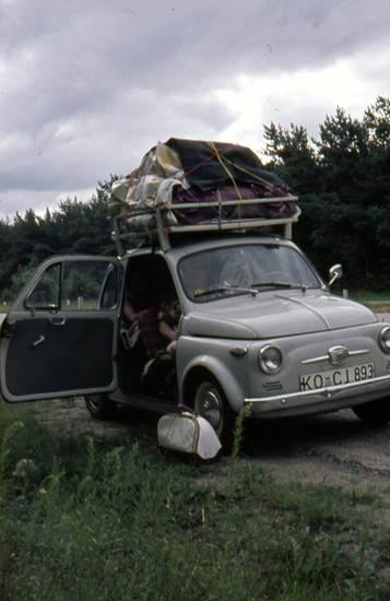 auto, camping, Dachgepäckträger, Fiat, Fiat-500, Gepäck, KFZ, Koblenz, PKW, Urlaubsfahrt