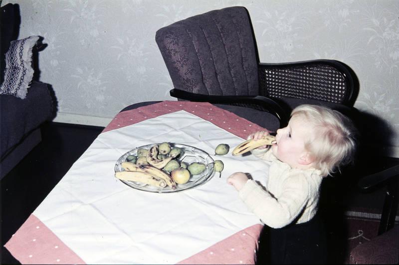 Banane, Birne, essen, Kindheit, Obstschale, Tischdecke