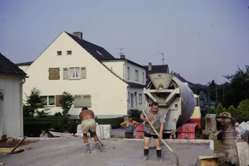 Baustelle, Gummistiefel, Hausbau, hochbau, schaufel, zement