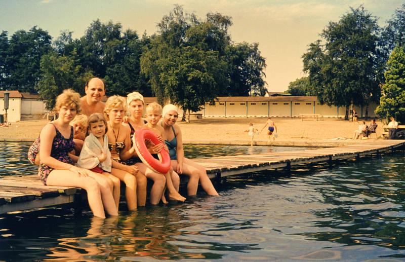 ausflug, Badekappe, bademode, familie, Kindheit, Schwimmen, Schwimmring, see, Steg
