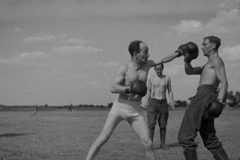 boxen, Boxer, boxhandschuhe, Oberkörperfrei, unterhose