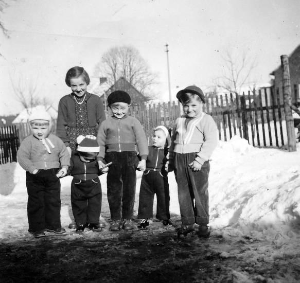 freunde, junge, Kindheit, mode, schnee, winter