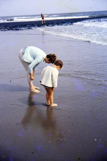 hose, Kindheit, meer, Mutter, strand, urlaub, Welle