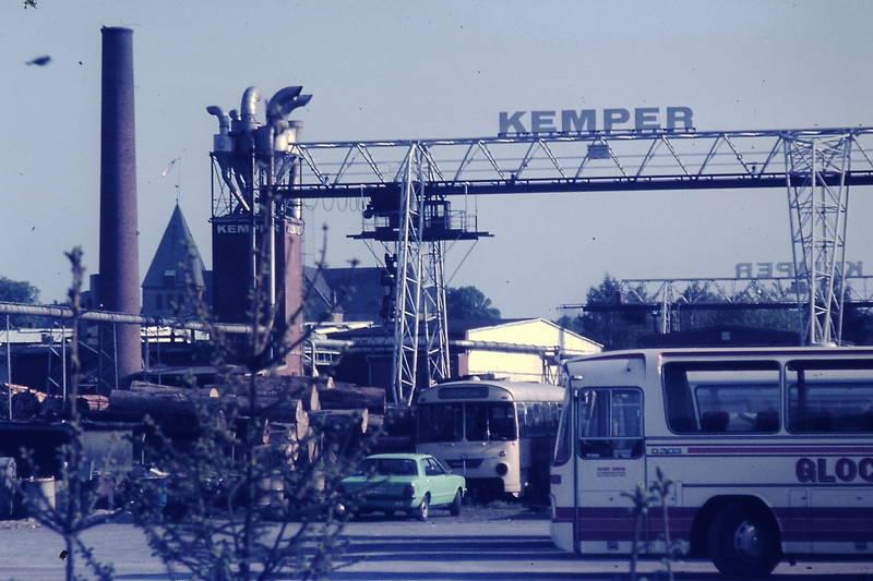betriebshof, Busparkplatz, Ford-Taunus, Kemperwerke, Kran, Schornstein, Turmfahne