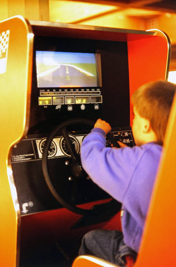 Kindheit, lenkrad, Rennfahrerspiel, spielautomat