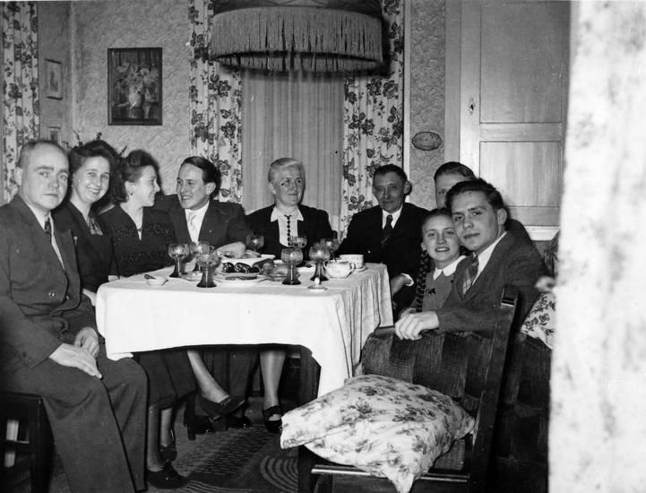 familie, feier, lampe, Muster, tisch, wein, Weinglas