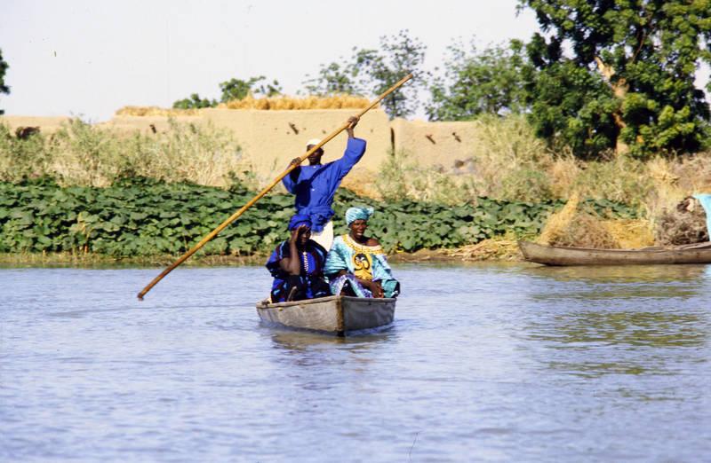boot, fluss, Niger, Stock