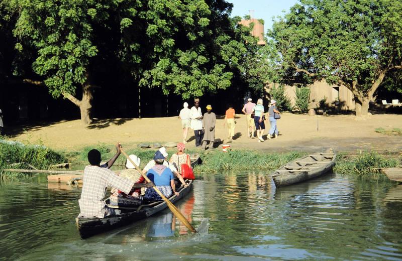 boot, Niger, tourist, Ufer, Urlaubsreise