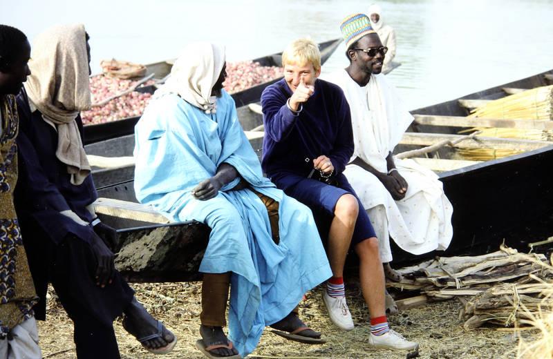 boot, flussufer, Niger, Urlaubsreise, zeigen